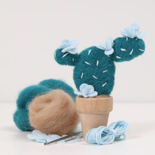 "Cactus Needle Felting Kit! This prickly pear cactus needle felting kit from Benzie Design includes all the supplies you need to make your own pretty cactus -- needles, foam, roving, felt flowers, floss + a teeny tiny flower pot. A helpful instruction sheet includes step-by-step instructions that even a beginner can use! Finished plant measures about 4"" tall."