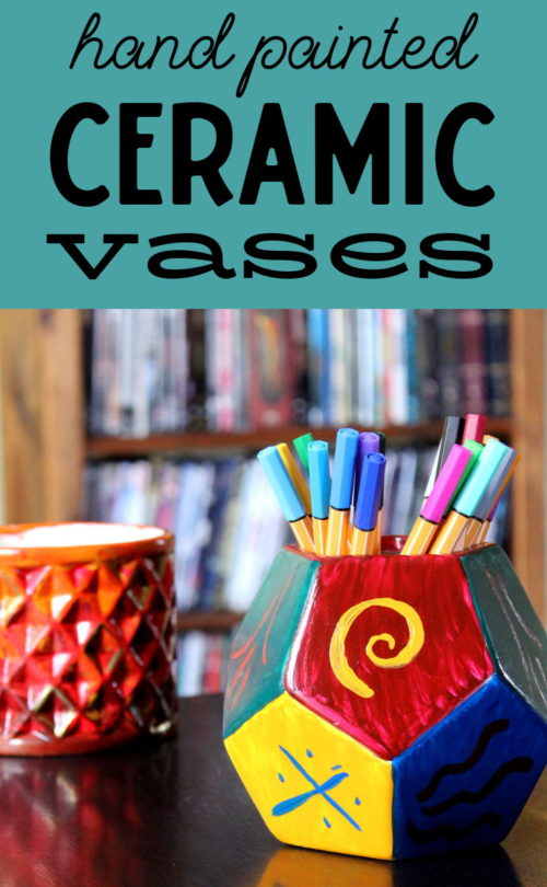Learn how to craft these hand painted ceramic vases for a one of a kind Mother's Day gift! These hand painted ceramic vases are incredibly easy to decorate. Simply paint, cure and bake and you have a unique handmade Mother's Day gift she'll always treasure!