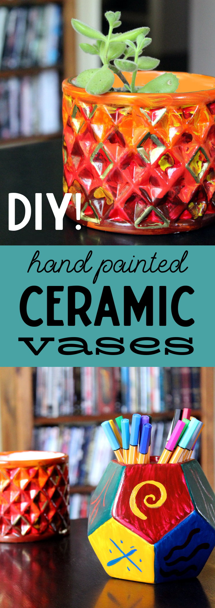 Unique hand painted ceramic vases for Mother's Day! Learn how to craft these hand painted ceramic vases for a one of a kind Mother's Day gift! These hand painted ceramic vases are incredibly easy to decorate. Simply paint, cure and bake and you have a unique handmade Mother's Day gift she'll always treasure!