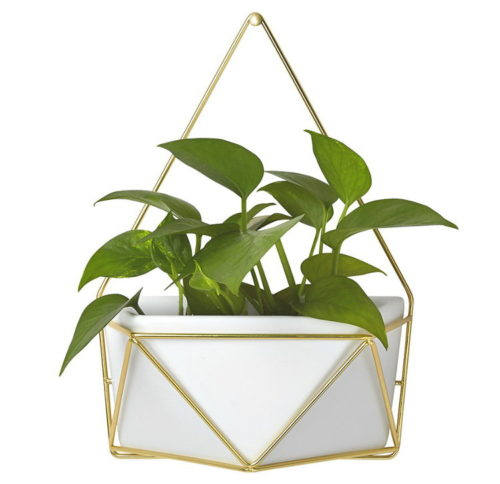 Decorate this ceramic geometric hanging succulent wall vasewith ceramic paints for custom, one of a kind modern home decor and wall accent. These also make great DIY gift ideas! Simply decorate your ceramic geo planter as desired, then gift with a potted or faux succulent.