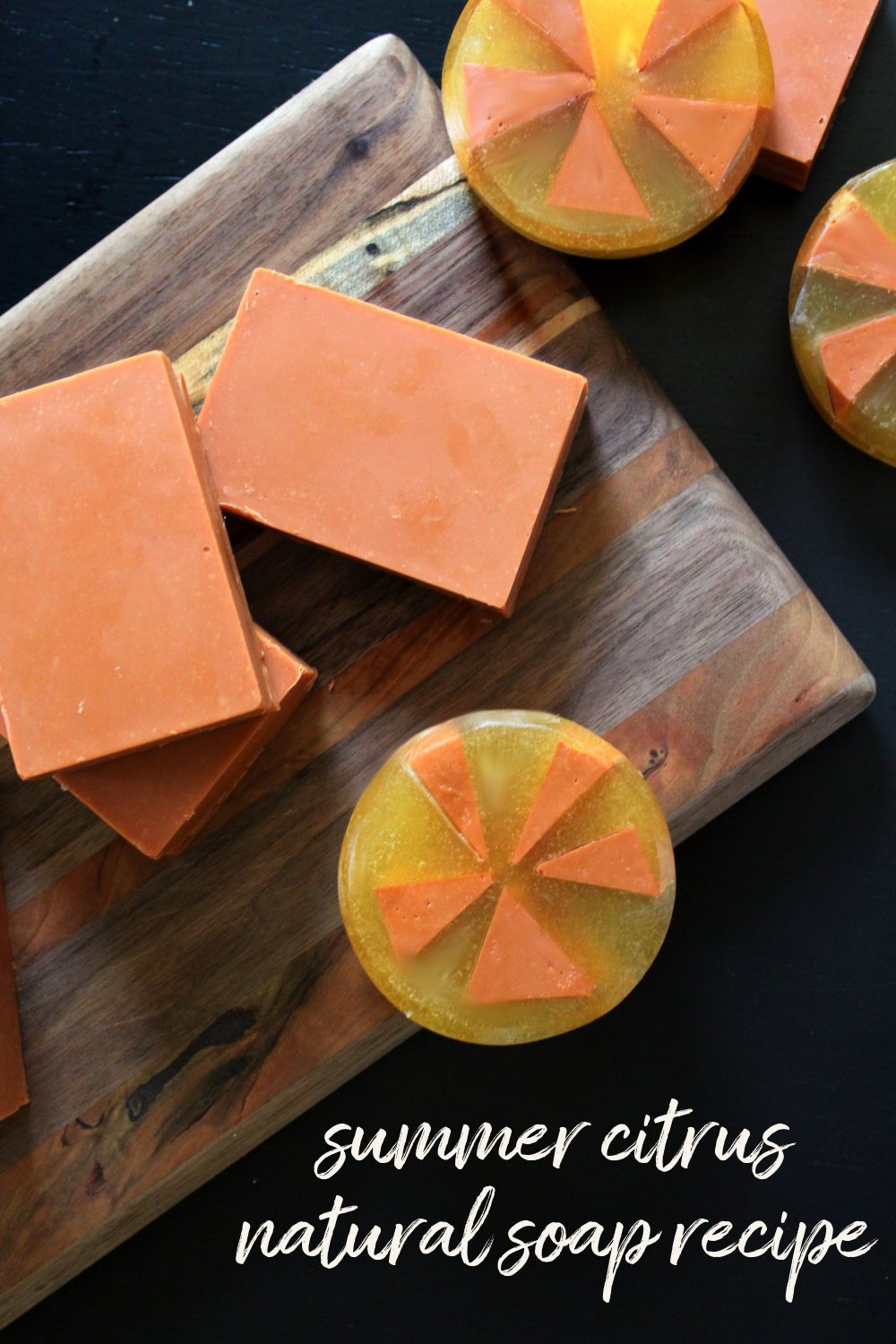Summer Citrus Soap Recipe with a Natural Essential Oil Blend. This homemade summer citrus soap recipe contains a citrus inspired natural essential oil blend of peppermint, orange and lemongrass. Formulated to be both cleansing and conditioning, this natural cold process soap works great at tackling sweat and grime without over drying skin.