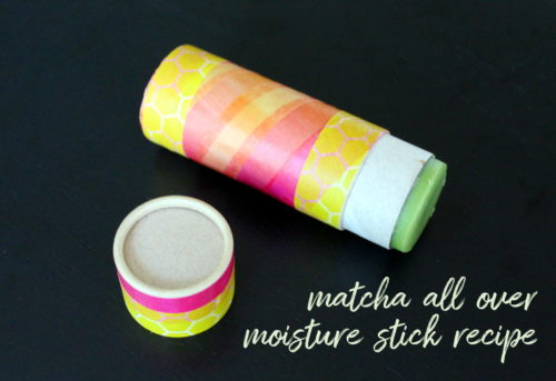 DIY Matcha Moisturizing Stick! This budget friendly DIY for crafting your own matcha all over moisture stick recipe is a simple skin care solution that really works! Homemade with just three natural ingredients, this moisturizing stick nourishes, conditions and protects skin all over your body - lips included!