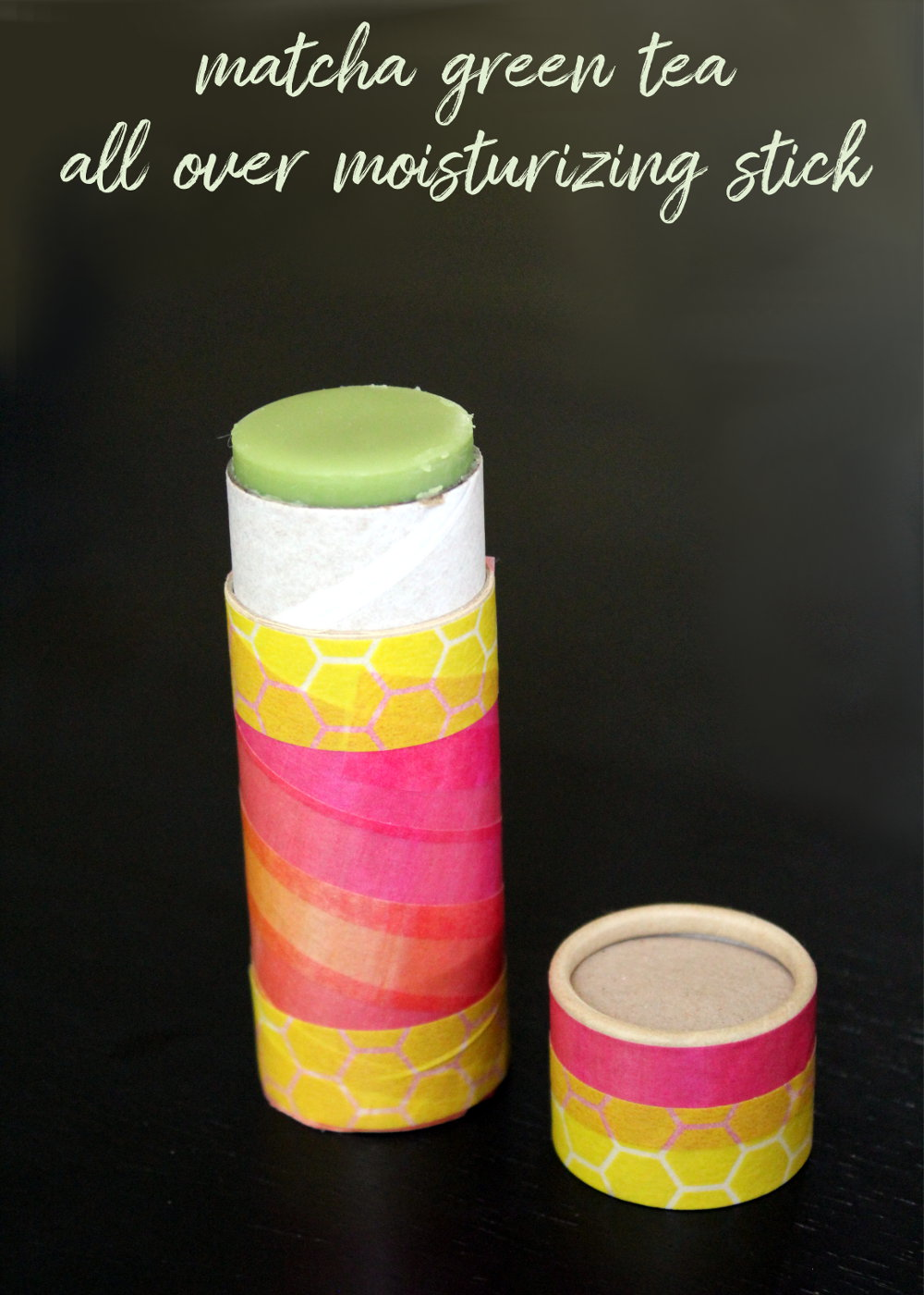 Matcha Moisturizing Stick DIY! This budget friendly DIY for crafting an organic matcha all over moisture stick recipe is a simple and affordable skin care solution that really works! Homemade with just three natural ingredients, this moisturizing stick nourishes, conditions and protects skin all over your body - lips included - without busting your budget!
