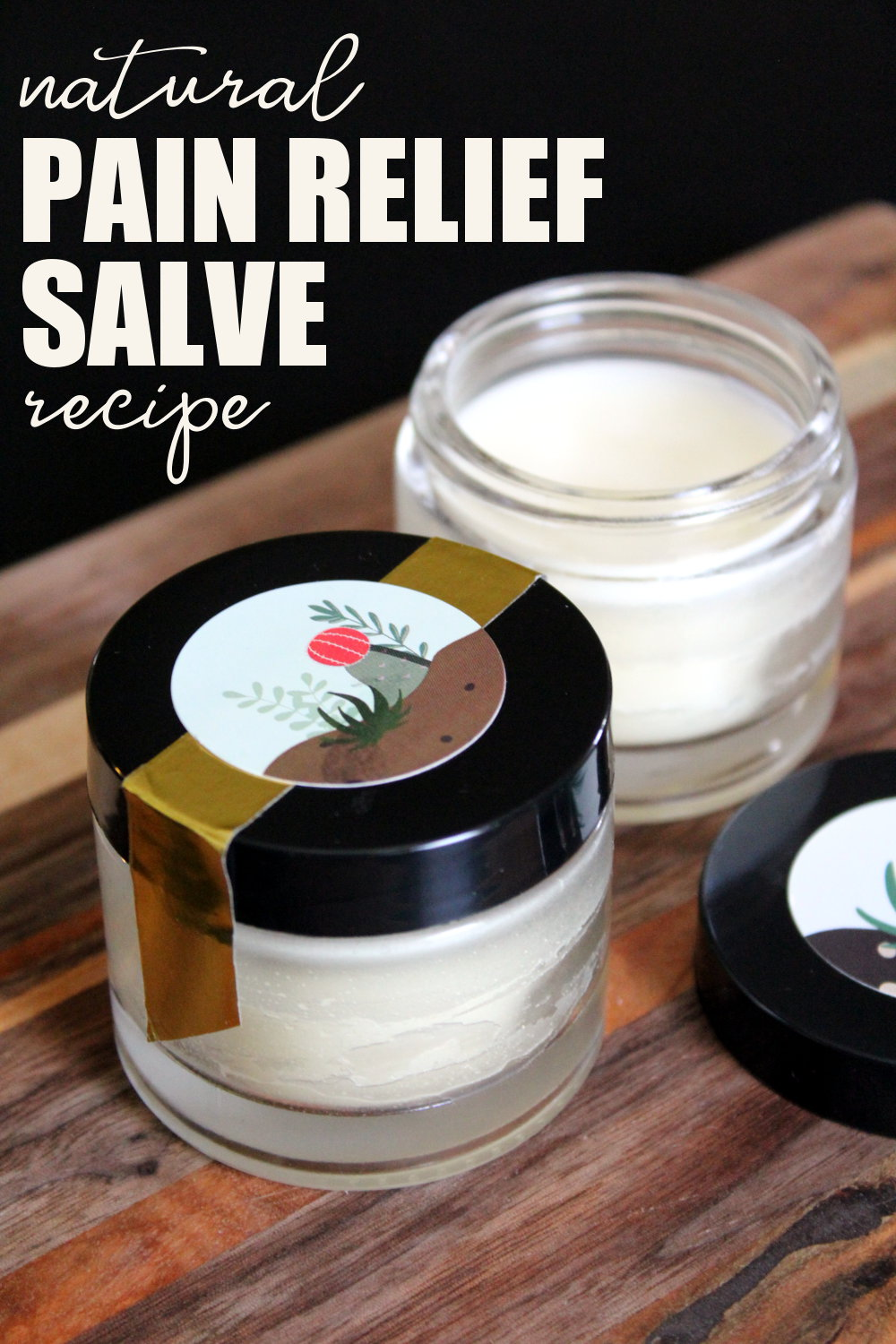 This natural pain relief salve recipe with arnica and ginger essential oil is made with just four simple ingredients to relieve inflammation and ease pain associated with muscle pain, arthritis, sprains, fibromyalgia, bruises and carpal tunnel. Make this natural home remedy in just ten minutes or less!