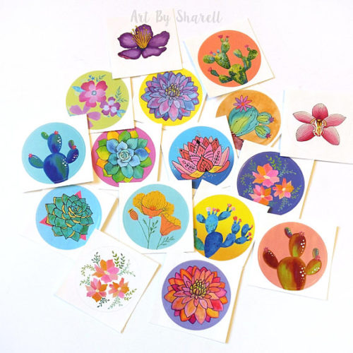 Cheery round natural plant stickers! This grab bag of colorful succulent, cactus and plant stickers from Art by Sharell are perfect for decorating your small salve jars and other homemade bath and body products you've created using the beauty, soap and skin care recipes from Soap Deli News blog.