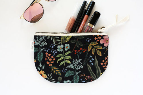 Gift this Rifle Paper Co. Fabric Zipper Pouch in black botanical cotton linen fabric from Apple White Handmade for Mother's Day.