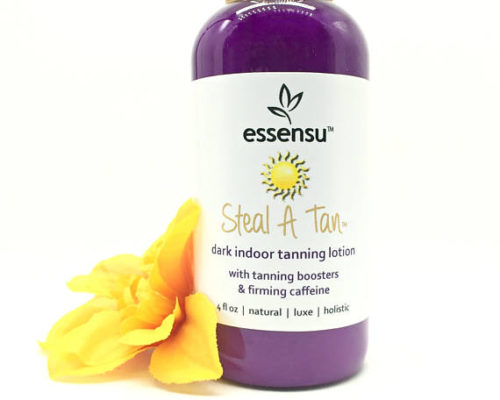 Natural Self Tanning Lotion. If you find that sunless tanners dry out your skin, opt for a natural self tanning product. Essenu's Steal A Tan™ Dark Indoor Sunless Tanning Lotion not only contains natural tanning boosters, it also contains naturally moisturizing shea and cocoa butters as well as aloe vera and green tea. It's also formulated with marine elastin and caffeine extract to help to tighten and tone your skin for a smooth, beautiful tan.