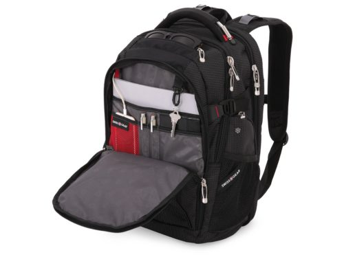"This SwissGear® 18.5"" Scan Smart TSA Laptop and USB Power Plug Backpack is THE backpack to rival all other backpacks. It features a USB power read port, TSA ScanSmart Technology and a large main compartment with flip-up show storage with side access pockets. The ergonomically contoured, padded shoulder straps with built-in suspension make this backpack comfortable to carry, while the organizer compartment comes outfitted with a key fob as well as multiple divider pockets for pens, mobile phone, ID card and memory stick, and the add-a-bag strap to slip the backpack over most telescoping luggage handles."