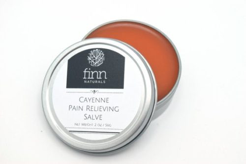 Organic Cayenne Pain Salve from Finn Naturals. This organic cayenne salve is all natural and handmade by me. It is wonderful for soothing sore, tender muscles. It is also helpful for arthritis, headaches, back pain, muscle spasms, menstrual cramps, neuropathy and other types of chronic pain. It gently warms and stimulates circulation as you apply it.