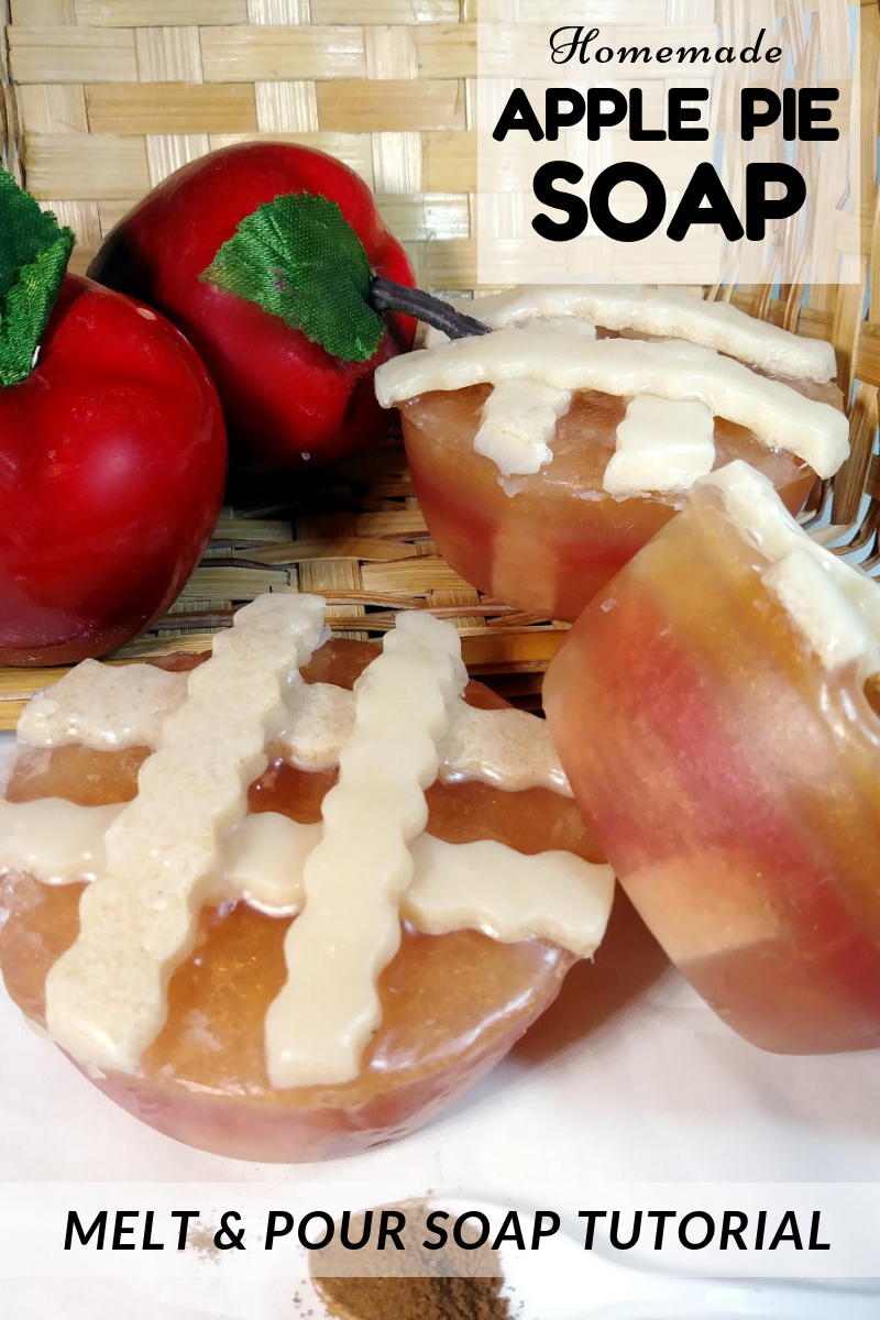 Homemade Apple Pie Soap Tutorial for Fall Gifts. Learn how to craft your own melt and pour soaps for seasonal fall gifts with this instructional homemade apple pie soap tutorial. #applepie #apple #soap #diy #soapmaking #soaprecipe #crafts #homemadesoap