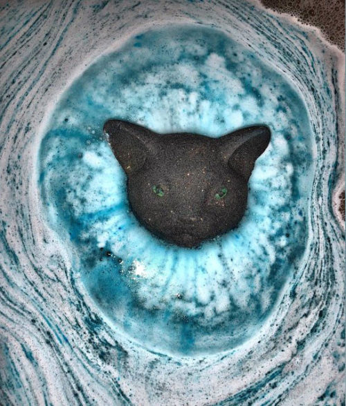 Every Witch Has a Sidekick. Witches and black cats have become synonymous with Halloween. So what better way to celebrate Halloween than with a product that gives back! Inspired by Brittany's adopted cat, Salem, this bath bomb from Feisty Fox Bath Co. not only adds some fun to your tub, but 50% of your purchase also goes towards providing litter, food, and toys to kitties looking for their fur-ever home.