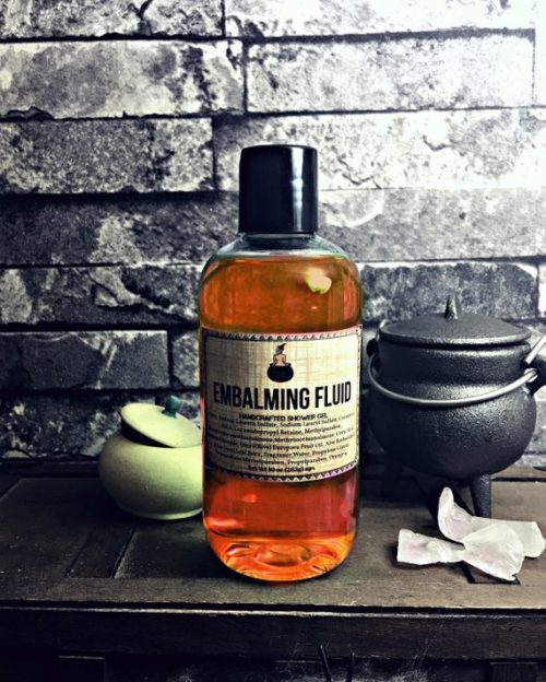 Best To Not Wake The Dead Novelty Shower Gel. This Halloween inspired embalming fluid shower gel from The Potion Cabinet, thankfully smells nothing like its name. Created for those of us who feel dead inside, but are being forced to socialize, this shower gel smells like a tropical juicy mango with touches of pineapple, coconut and vanilla.