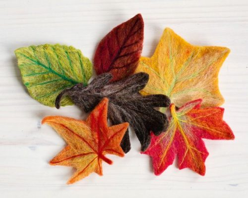 8 DIY Craft Kits for Adults to Try This Fall! This fall leaves needle felting kit is perfect for beginners! Design to produce six decorative fall leaves based on real leaf types, this DIY craft kit helps your create the perfect addition to your seasonal fall decor.