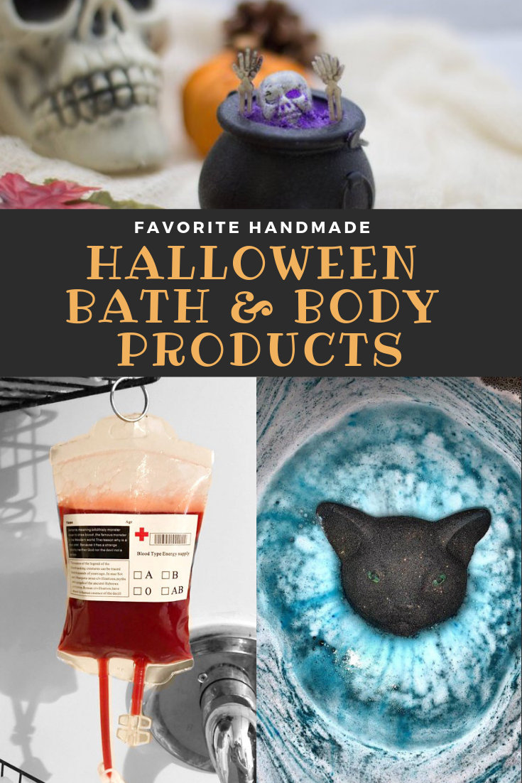 Favorite handmade Halloween bath & body products to gift as non-edible trick-or-treats this fall. There's no need fill up on sugar this Halloween. Gift these handmade Halloween bath & body products as Halloween treats instead - or simply treat yourself! Halloween bath bombs, soaps, bubble bars & more that are perfect for the fall season! #halloween #treats #skincare #bathbombs #handmade #trickortreat #bathandbody