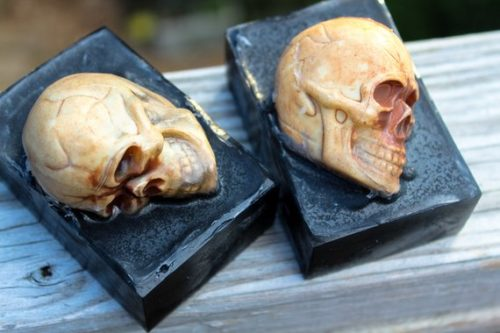 Handmade Halloween Bath & Body Favorites. Somebody died in here. These earthy unisex scented skull soaps from Chicken Chick Naturals will remind you of your own mortality on a daily basis. At least it's a great reminder to make the most of every single day.