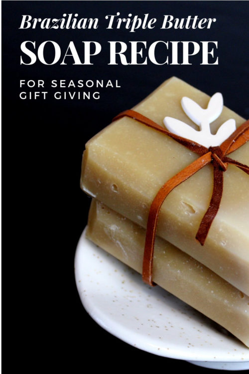 Brazilian Triple Butter Homemade Soap Recipe. The perfect pairing for seasonal gift giving. Create the perfect DIY holiday gifts by combining a bar of handmade soap with a soap dish from Soap Bar Lounge! Learn how to craft your own skin conditioning triple butter soap recipe. Plus discover what makes Soap Bar Lounge ceramic soap dishes the best option for your homemade soaps!