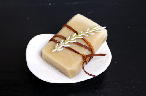 Brazilian Triple Butter Soap Recipe for natural holistic winter skin care. This skin conditioning homemade soap makes a wonderful DIY seasonal holiday gift when paired with a ceramic soap dish from Soap Bar Lounge!