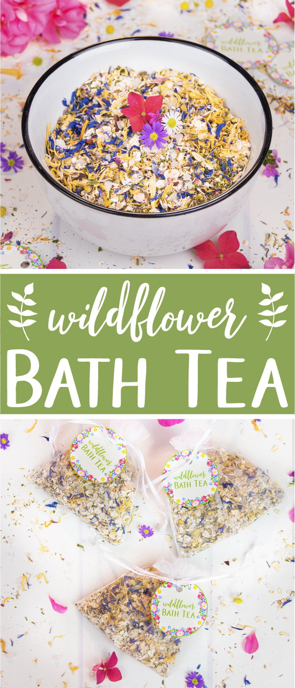 A fragrant wildflower bath tea is a great way to relax and care for your skin. This all-natural and vegan bath tea is made with rolled oats, dead sea salt, dried herbs and flowers, and essential oils. The bath tea is a great skincare product year-round and a lovely addition for a spa day at home. It also makes the perfect relaxing gift for someone special. The beauty DIY includes printable labels for packaging and gifting. #bathtea #skincare #essentialoils #giftgiving