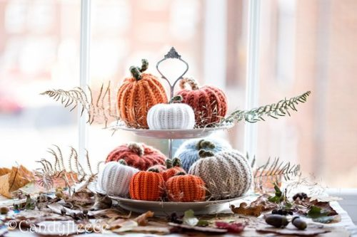 No Carve Pumpkin Decorating Ideas for Fall. As featured in 'House Beautiful' October 2017 issue, this collection of one of a kind handmade crocheted & knit pumpkins from Candyfleece are a must for your Thanksgiving tablescape. These pumpkins will add a wonderful rustic touch to your holiday or fall home decor. Offered in an assortment of colors, you'll receive these pumpkins in orange, rusty brown, oatmeal, white and blue.