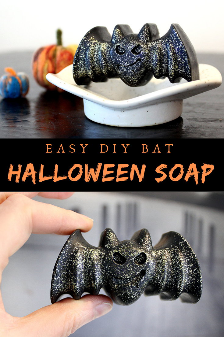 Halloween Soap DIY. Learn how to make this glitter DIY Halloween bat soap for non-candy Halloween gifts using melt and pour soap and biodegradable eco-friendly glitter. A fun and easy homemade soap recipe. No lye beginner soap recipe. Easy melt and pour soap recipe for beginners.