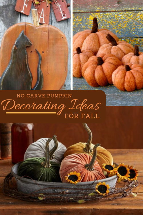 No carve pumpkin decorating ideas for fall. If you're ready to decorate with pumpkins for fall, then be sure to check out this amazing collection of no carve pumpkin decorating ideas! These handmade fall #pumpkins are exactly what your home needs! Whether you're buying seasonally inspired pumpkin #falldecor for your home, or you simply need some inspiration for your own #DIY no carve pumpkins, you'll love these #handmade fall pumpkin ideas!