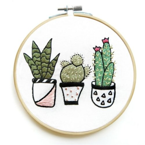 Contemporary hand embroidery. DIY cactus embroidery kit from Hoops and Expectations. Handmade holiday gifts for fellow friends and crafters.