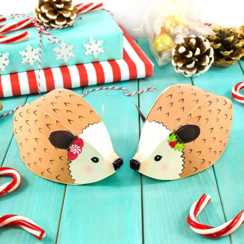Hedgehog printable gift boxes or favor boxes. An easy way to wrap gifts for the holiday season. These super cute printable hedgehog treat boxes from Little Luxuries Loft are great for jewelry and other tiny gifts like stocking stuffers. You can also use them for your holiday advent calendar.