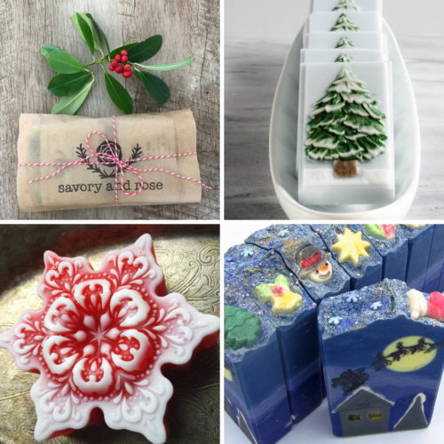 Handmade artisan soap gifts. Christmas themed holiday soaps for handmade holiday gifts and stocking stuffer ideas this winter.