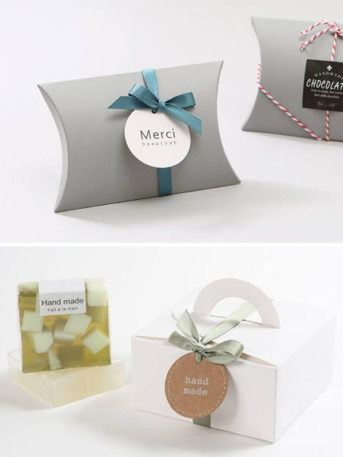Ways to package soap for handmade holiday gifts. Gable boxes and pillow boxes, like these from Cookiebox Store, are wonderful way to package your homemade soaps for handmade holiday gifts. Soap packaging ideas for handmade soap.