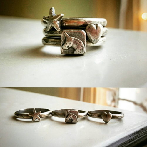 Handcrafted unicorn stacking rings from Magpie Metalworks. Who doesn't want a unicorn ring!? This 3 ring set is completely handmade of sterling silver. If you love fantasy then these rings are for you! Makes a unique Christmas stocking stuffer for a teenage daughter.