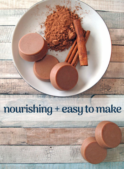 Homemade winter gifts for everyone on your list. These DIY hot chocolate lotion bars from Eco Living Mama make lovely seasonal stocking stuffers and handmade holiday gift ideas. Not only do they smell amazing, they made with all natural, good-for-your-skin ingredients.