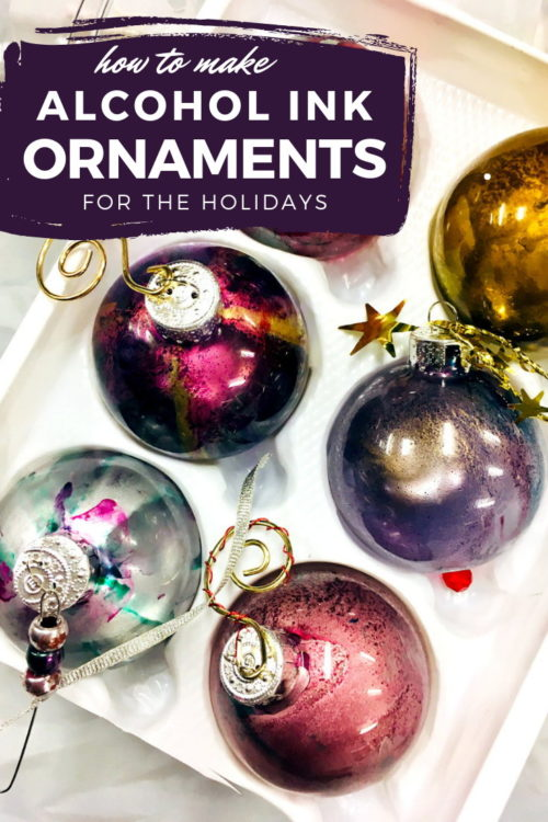 DIY alcohol ink ornaments! Alcohol ink ornaments are not only a beautiful way to decorate your Christmas tree or winter wreath, they're also incredibly quick and easy to make. Keep reading to learn how to make your own DIY alcohol ink ornaments. Plus a fun video tutorial on how to make alcohol ink ornaments from my fellow friend, artist and teacher, Hillary Hardison, and start crafting your own DIY Christmas decorations for the holidays.