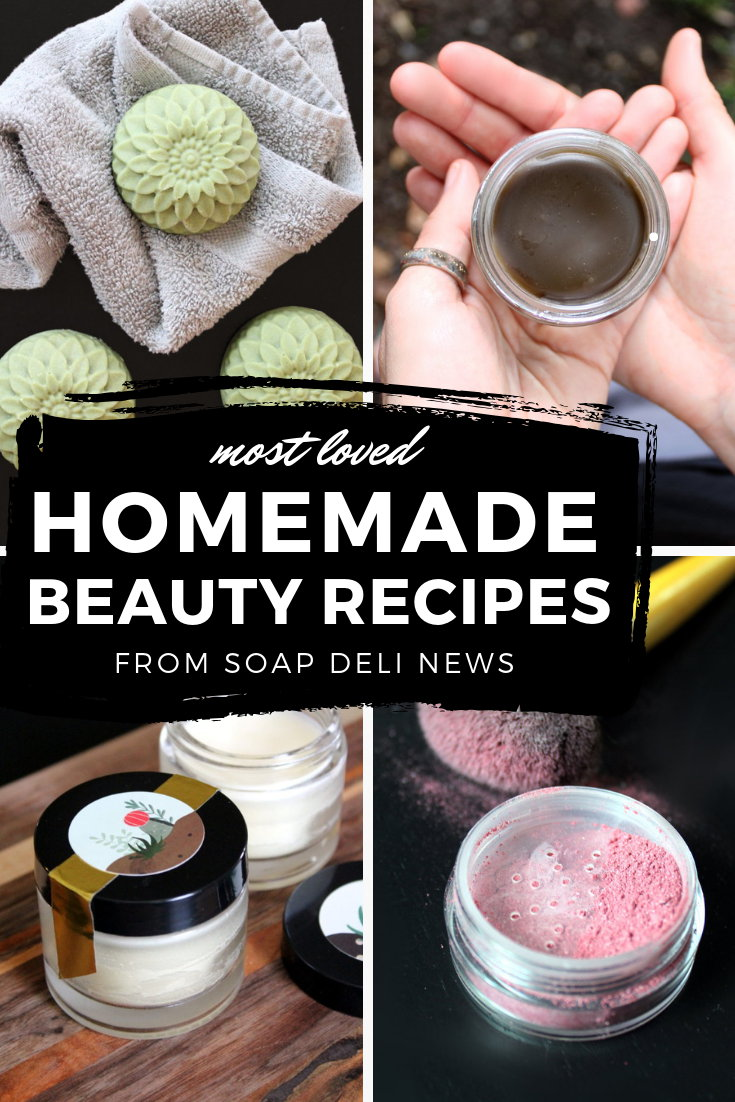 Most loved homemade beauty recipes from Soap Deli News blog. As determined by readers, these Pinterest favorite homemade beauty recipes are musts for your natural skin care routine! Learn how to make your own natural skin care recipes for homemade soaps, natural herbal salves and balms, essential oil lip balms, bath teas, sheet masks, pain relief remedies and more! The best in natural beauty and skin care that you can make at home!