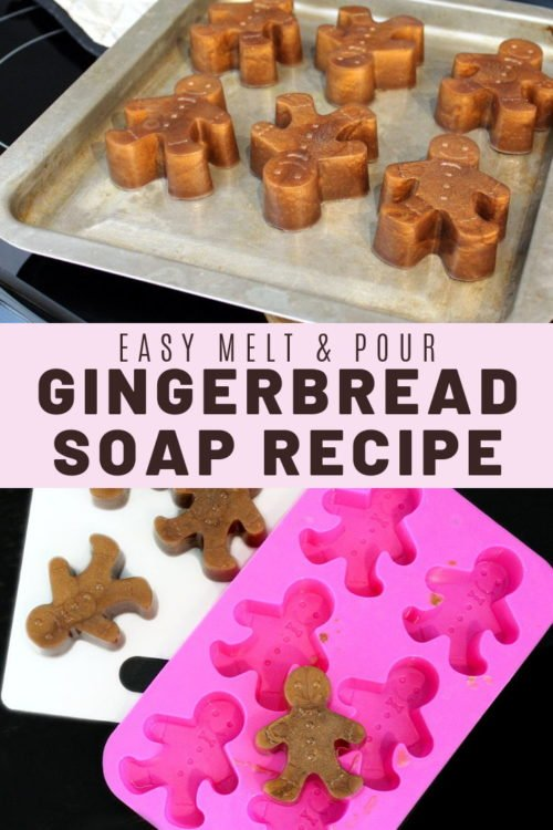 Homemade holiday gifts and holiday gift wrapping ideas! Learn how to craft these easy homemade melt and pour gingerbread soap recipe for homemade holiday gifts and seasonal DIY stocking stuffers.