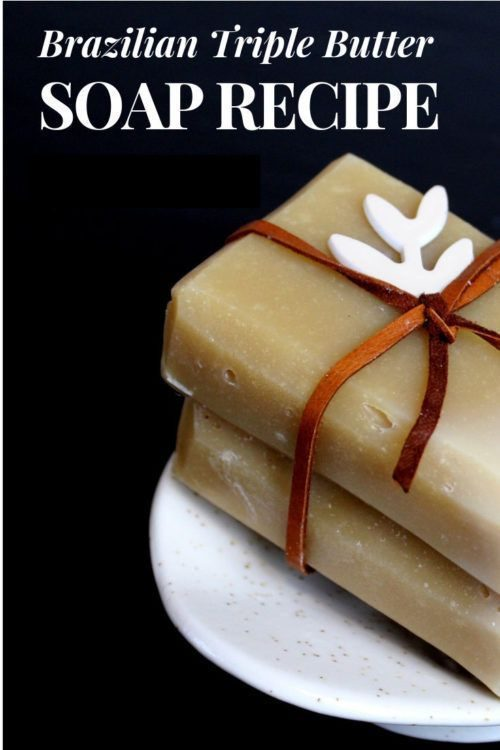 Triple Brazilian Butter Soap Recipe for dry skin & eczema. Made with a fabulous combination of three Brazilian butters - cupuacu butter, tucuma seed butter & ucuuba butter - this natural soap recipe is a dream for dry winter skin. One of the very BEST homemade soaps for winter this natural beauty bar is made with skin conditioning ingredients that nourish dry skin without stripping it. Making it the perfect soap recipe for dry skin and eczema hands down! Natural skin care for winter.