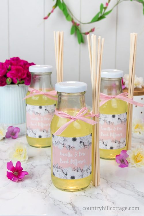 DIY Vanilla Rose Reed Diffusers for you BFF this Valentine's Day. These DIY diffusers with essential oils are the perfect way to fragrance a room and they make adorable gifts. The indulgent scents of rose and vanilla create a romantic and relaxed atmosphere and will lift your mood. The best part is that DIY diffusers are only made with natural ingredients and you have full control over what goes into them.