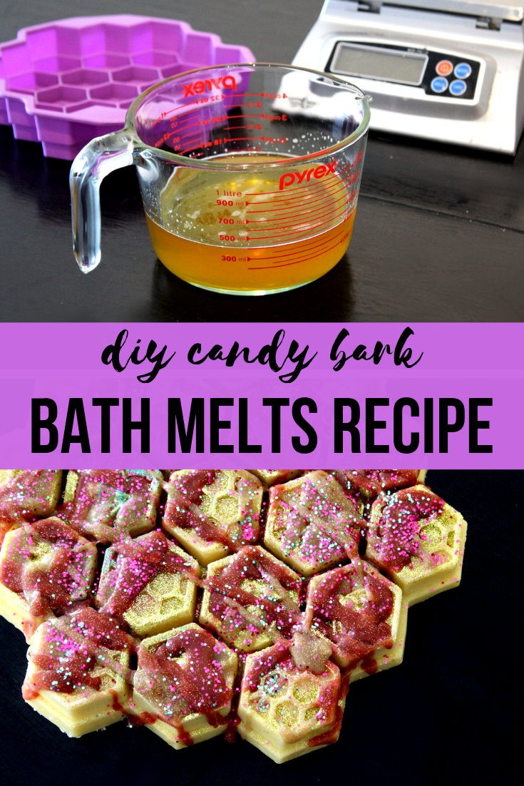 Homemade bath melts recipe with real honey and cocoa butter. Designed to look like candy bark, these homemade bath melts are made with real honey and cocoa butter for a lush bath experience! These are perfect for when you need to take some time out for much needed self care. Or make and give these cocoa butter & honey homemade bath melts as unique homemade gifts throughout the year.