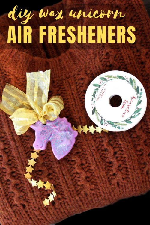 DIY Air Fresheners with Essential Oils - Unicorn Style! Remind your BFFs how magical they are with these unicorn air fresheners for Galentine's Day. Scented with natural essential oils, these unicorn wax air fresheners are perfect for musty closets or to use as drawer sachets. Or hang them in a sunny kitchen window. These DIY air fresheners are super easy to make. They're also the perfect reminder that we DO sparkle every single day! #airfresheners #unicorns #essentialoils #diy