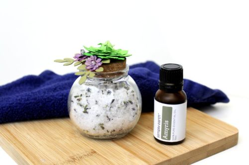 Sickness Support Bath Soak Recipe with amyris essential oil. This sickness support bath soak recipe is wonderful not just for boosting immunity to fight off illnesses, it also can help with sore muscles and body aches associated with the flu. It's also effective at calming your body as well as relieving nausea or a distressed digestive system. Made using amyris essential oil and magnesium flakes, this homemade detoxifying bath soak recipe also contains Epsom salt.