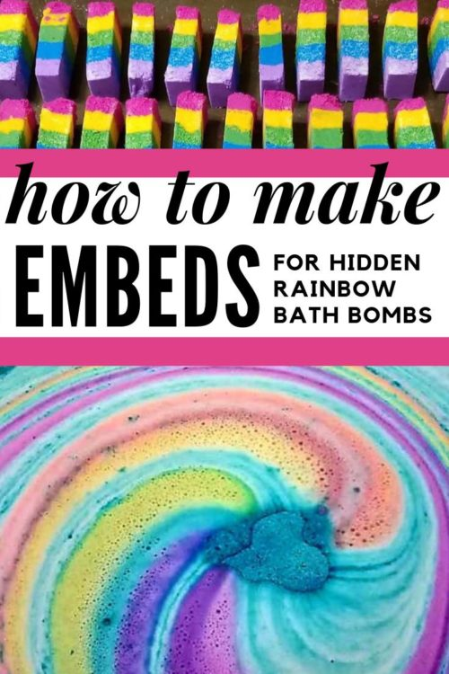 How to make rainbow bar embeds for hidden rainbow bath bombs DIY. Have you evHow to make rainbow bar embeds for hidden rainbow bath bombs DIY. Have you ever wondered exactly how DIY-ers get their homemade bath bombs to explode with a rainbow of colors? Ready to take your homemade bath bombs to the next step? This tutorial walks you through the steps on how to make rainbow bar embeds for hidden rainbow bath bombs. So now you too can create the colorful, show worthy bath bombs you love! #rainbow #unicorn #bathbombs #diy