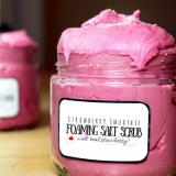 Seriously sweet skin care for your natural beauty routine. Nothing says spring like the goodness of home grown strawberries! If you're itching for winter weather to be on its way, bring a little bit of that spring vibe indoors - and into your bathroom! This strawberry smoothie foaming salt scrub recipe looks good enough to eat. It's also good for you! Rich in Vitamin C (for those age spots) this natural body scrub recipe has skin soothing & toning properties from real strawberry powder. Learn to make it now!