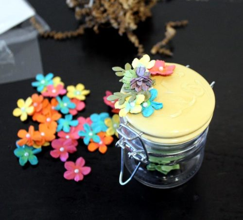 Mini Decorative DIY Spring Mason Jar. This mini decorative DIY spring mason jar is so simple to make. In 10-minutes or less you can create a decorative mini mason jar that's perfect for decorating your small spaces. You can also use these cute little mason jars for storage to stash trinkets like jewelry and rings. Or use them as pretty gift wrapping for your homemade bath salts or Easter treats this spring. Recreate this DIY idea on storage or mason jars of any size!
