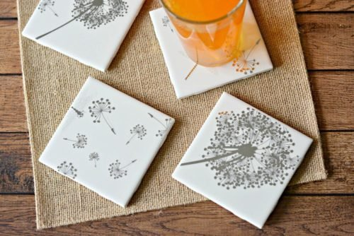 Craft night ideas for adults for a ladies craft night with your gal pals. These easy craft night project that's perfect for a group setting. These easy DIY tile coasters from Divine Lifestyle are perfect for a spring gathering. They're made using peel and stick wall decor. However you can also decorate your coasters using other methods such as alcohol ink and Sharpie markers.