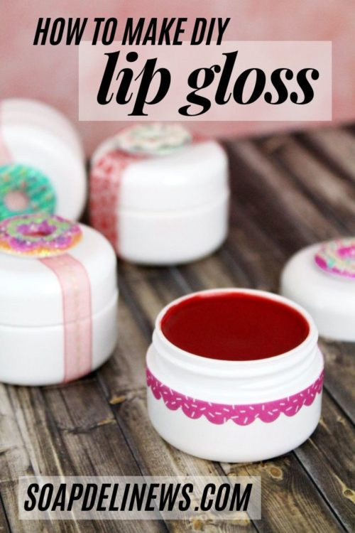 Natural Lip Gloss Recipe with a Pop of Color for Fresh Summer Looks. Learn how to make this natural lip gloss recipe for a fresh fun way to add a pop of color to your summer look. Tinted with shimmering mica pigment powder, this homemade lip gloss recipe looks stunning solo or over your favorite lipstick. Scent yours with natural essential oils or add some fun with a jelly donut or watermelon flavor oil.