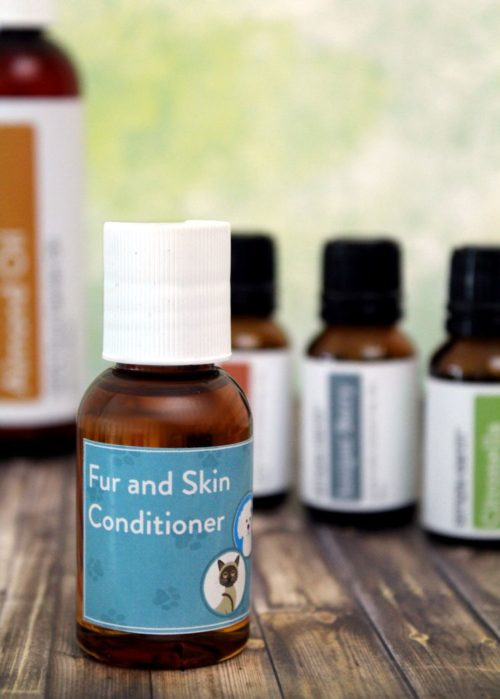 Fur & Skin Conditioner Recipe for Pets. Care for your pets skin and coat using essential oils with this simple natural pet care recipe. This natural petcare recipe helps to balance and lock in your pet's natural skin oils. Works great on dry patches and hot spots too! Plus learn about essential oils for pets, tips for safely using essential oils with your furry friends and five more natural essential oil pet care recipes.