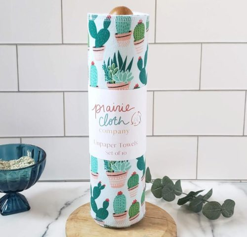 You can ease into a zero waste lifestyle by purchasing reusable paperless towels is also another great way to break your paper towel habit. You can even get unpaper paperless towels on a roll, like these from the Prairie Cloth Company.