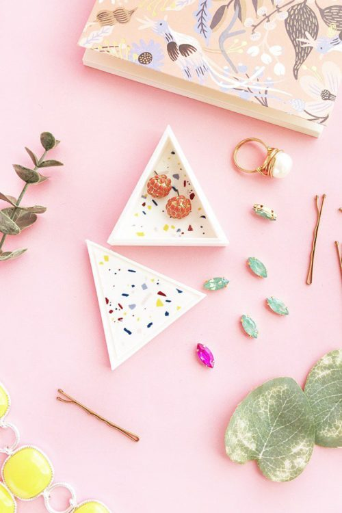 DIY Terrazzo Triangle Trinket Box for Mother's Day. If you're lucky enough to have a 3D printer, then this trinket box is a must for a DIY gift for Mom. Gift it with a handmade brooch or a novelty enamel pin to customize it even further. Then decorate the outside with temporary tattoos. Don't have a 3D printer? Try an upcycled cardboard box version instead!