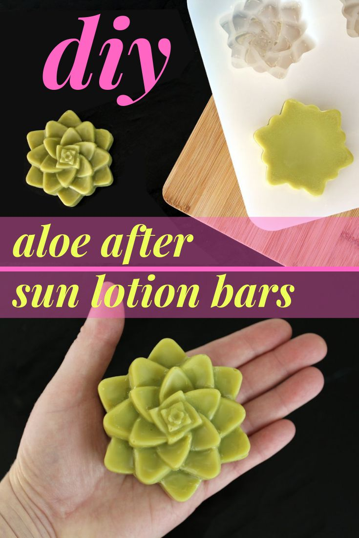 Aloe After Sun Lotion Bar Recipe for Natural Summer Skin Care. This natural aloe after sun lotion bar recipe helps rescue sunburned skin. A vegan friendly moisturizer, this solid hard lotion bar is made with aloe vera butter, calendula infused oil and a blend of essential oils that work in holistic harmony for the best after sun summer skin care to ease sunburn pain and moisturize skin.