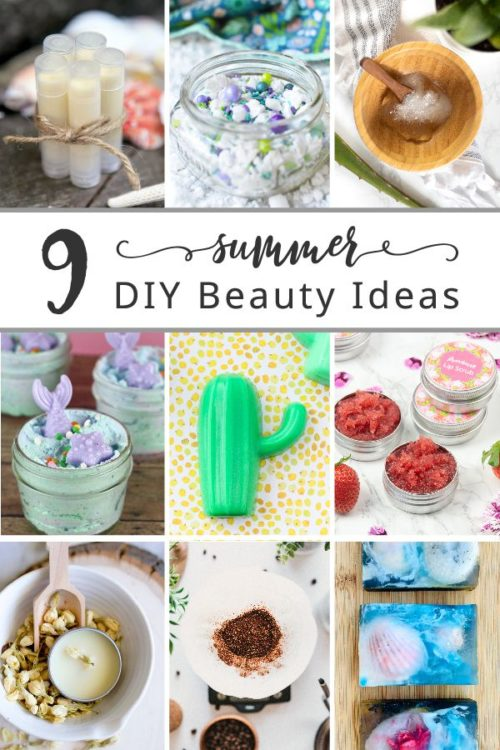 Summer beauty recipes for seasonal summer skin care. Discover 9 summer-inspired DIY beauty ideas for glowing skin this summer. Learn how to make homemade melt and pour soap recipes, mermaid bath salts, DIY solid perfume, a coffee body scrub and an aloe vera face mask. Plus DIY's for natural sunscreen lip balm and a DIY strawberry lip scrub. Enjoy them yourself this summer or make these summer skin care products for seasonal handmade gifts!