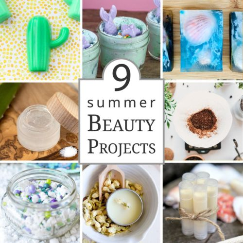 Summer DIY beauty recipes for seasonal beach inspired summer skin care. Discover 9 DIY summer beauty ideas for glowing skin this summer. Learn how to make homemade melt and pour soap recipes, mermaid bath salts, DIY solid perfume, a coffee body scrub and an aloe vera face mask. Plus DIY's for natural sunscreen lip balm and a DIY strawberry lip scrub. Enjoy them yourself this summer or make these summer skin care products for seasonal handmade gifts!